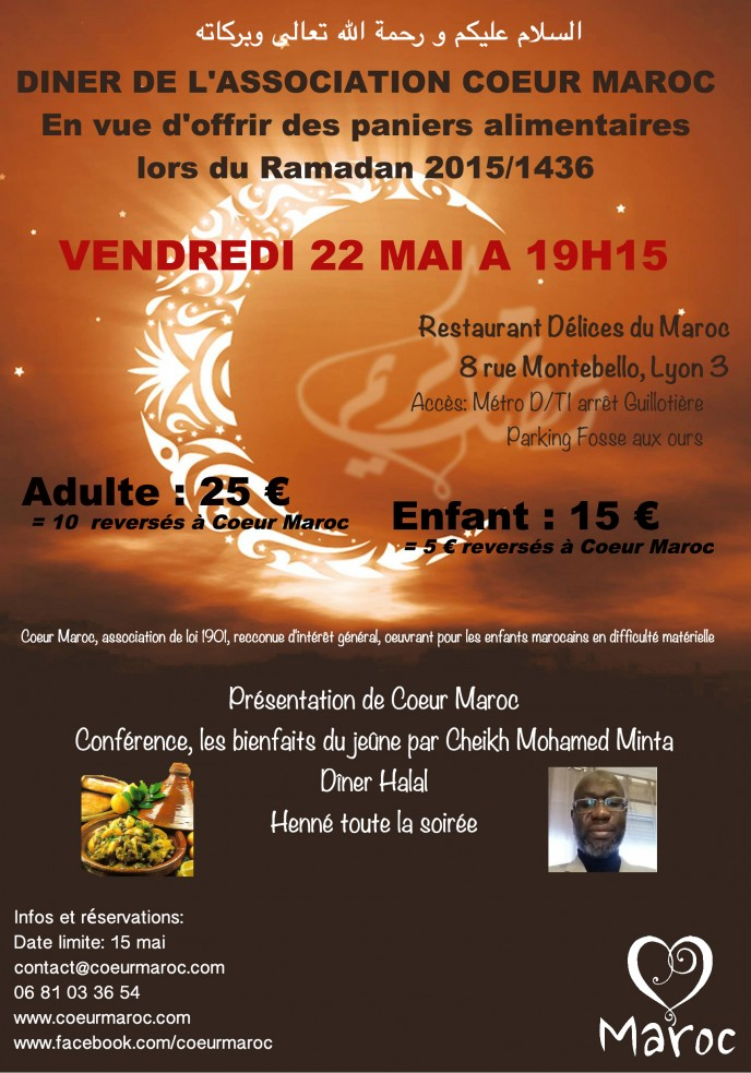 flyer A5 diner coeur maroc