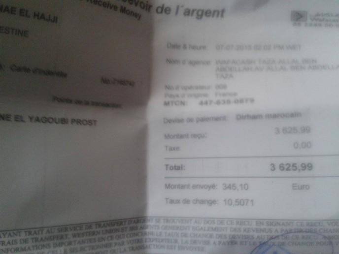 reçu western Sanae Taza 300 €